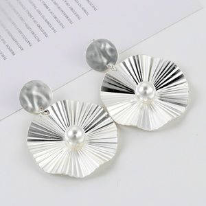 Circle Silver Tone Pearl Earrings